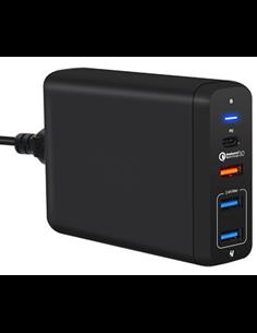 Multiladdare 4-port USB/USB-C PD QC3.0 svart