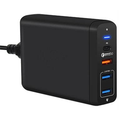 Multiladdare 4-port USB/USB-C PD QC3.0 svart