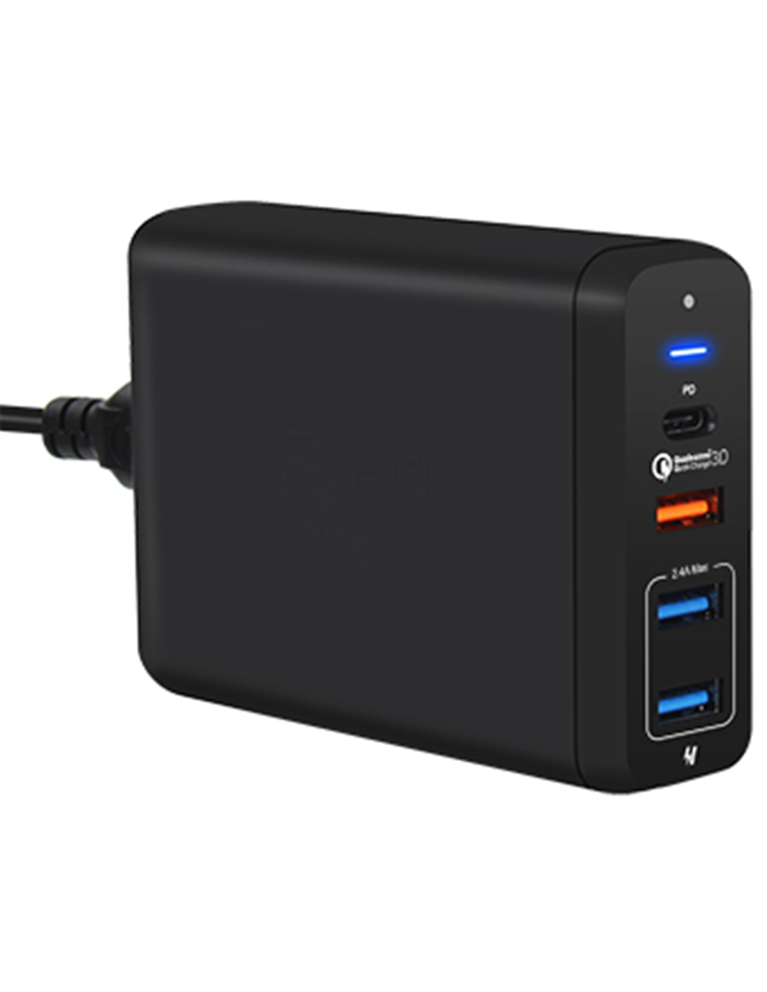 Multiladdare 4 port USBUSB C PD QC3.0 svart